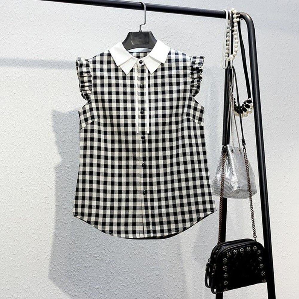 2021 Summer New Japanese Style Women's Blouse Lattice Casual Loose Lapel Sleeveless Single-breasted