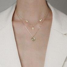 925 argent Sterling Double couche croix collier pour femmes rond ange clavicule chaîne collier bijoux S-N239