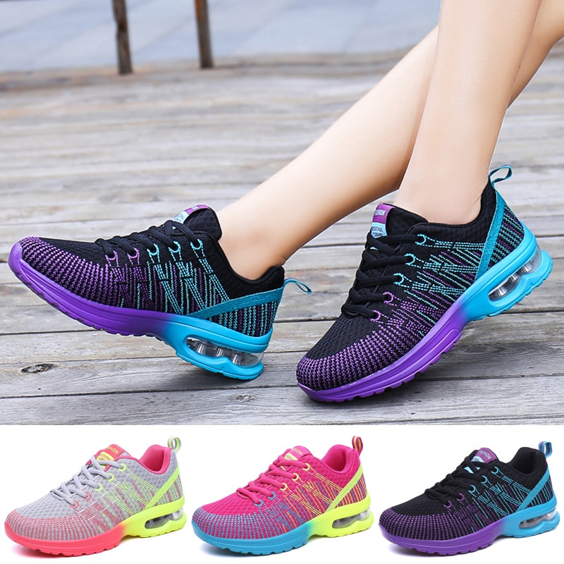 Women Sneakers Air Sole Athletic Running Shoes Lace-up Breathable Jogging Shoes Leisure Outdoor Snea