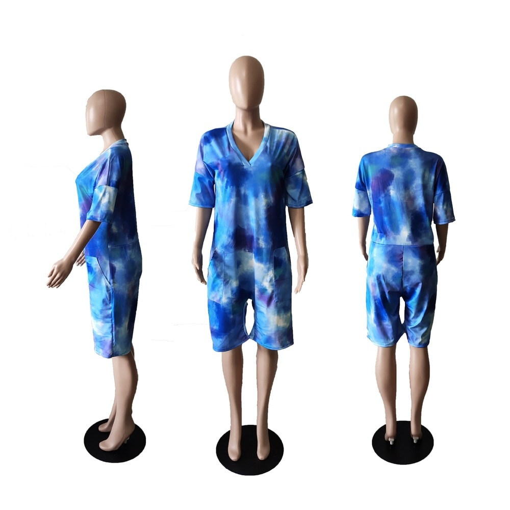 Bulk Items Wholesale Lots Women's Short Jumpsuit Trendy Tie Dyeing Print One Piece Overall Harajuku Female Loose Club Outfits enlarge