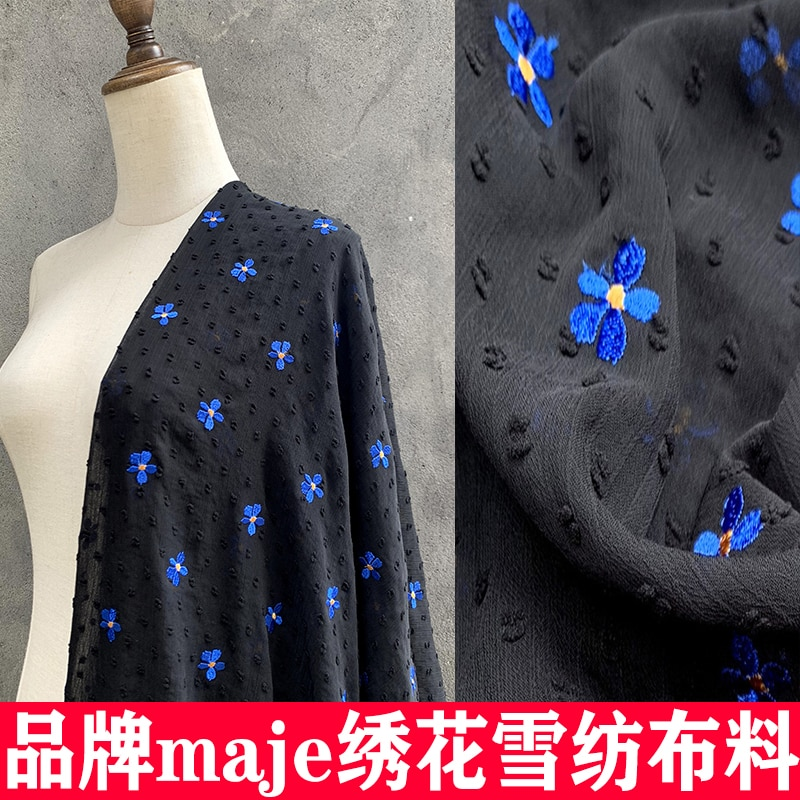 New embroidered chiffon fabric exquisite crepe de Chine blue particle high-end dress shirt clothing