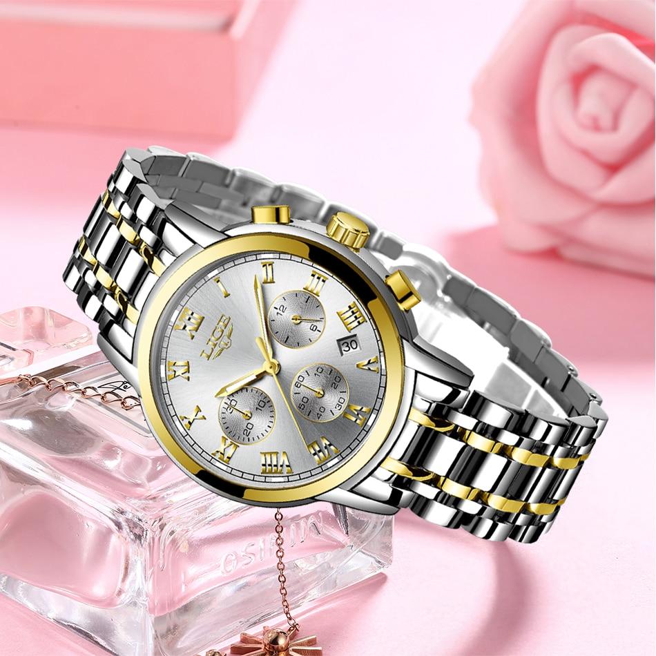 Luxury Brand LIGE Rose Gold Watches For Women Quartz Wrist watch Fashion Ladies Bracelet Waterproof Watch Clock Relogio Feminino enlarge