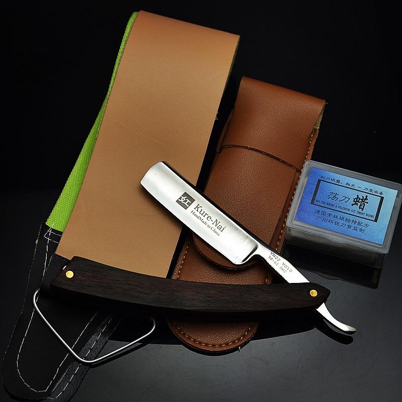4pcs/set Japan VG10 Stainless Steel Straight Razor Men Shaving Razors Wood Handle Barber Manual Shaver Classic Scraper G0306