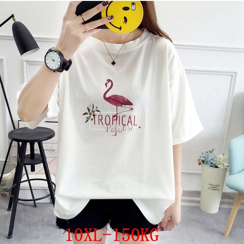 Camiseta feminina tamanho grande plus tamanho 7xl 8xl 9xl10xl verão em torno do pescoço manga curta solta tamanho grande preto e branco azul topo