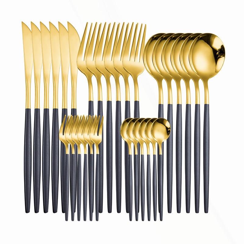 أدوات مائدة غربية من الفولاذ المقاوم للصدأ ، 30 قطعة ، أسود وذهبي ، خدمة عشاء ، ملعقة ، شوكة ، سكين ، أدوات مائدة