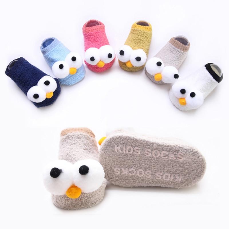 Симпатичные Новые детские новогодние нескользящие носки с глазами для новорожденных девочек и мальчиков тапочки детские носки для новорож...
