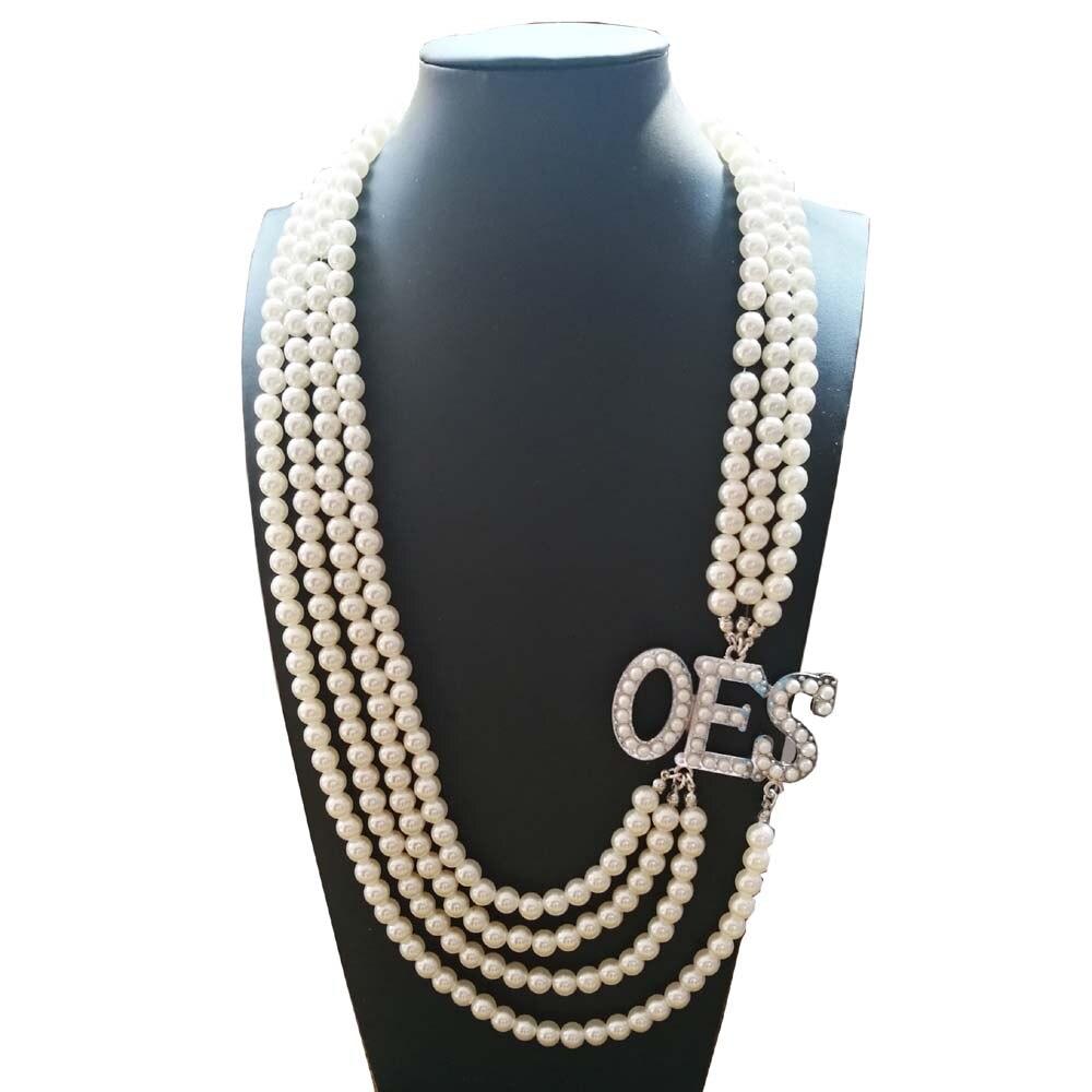 Collar de perlas de múltiples capas con diseño de estrella del Este