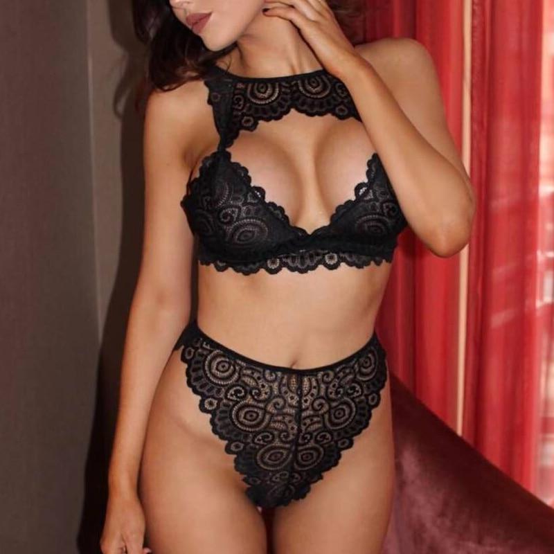 Women Bra and Brief Sets Halter Open Sexy Lace Lingerie Thong Set Ladies Babydoll Nightwear Plus Size Bra XXXL Black Red White