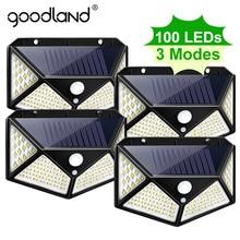 Goodland 100 LED lumière solaire extérieure lampe solaire alimenté lumière du soleil étanche PIR capteur de mouvement réverbère pour la décoration de jardin