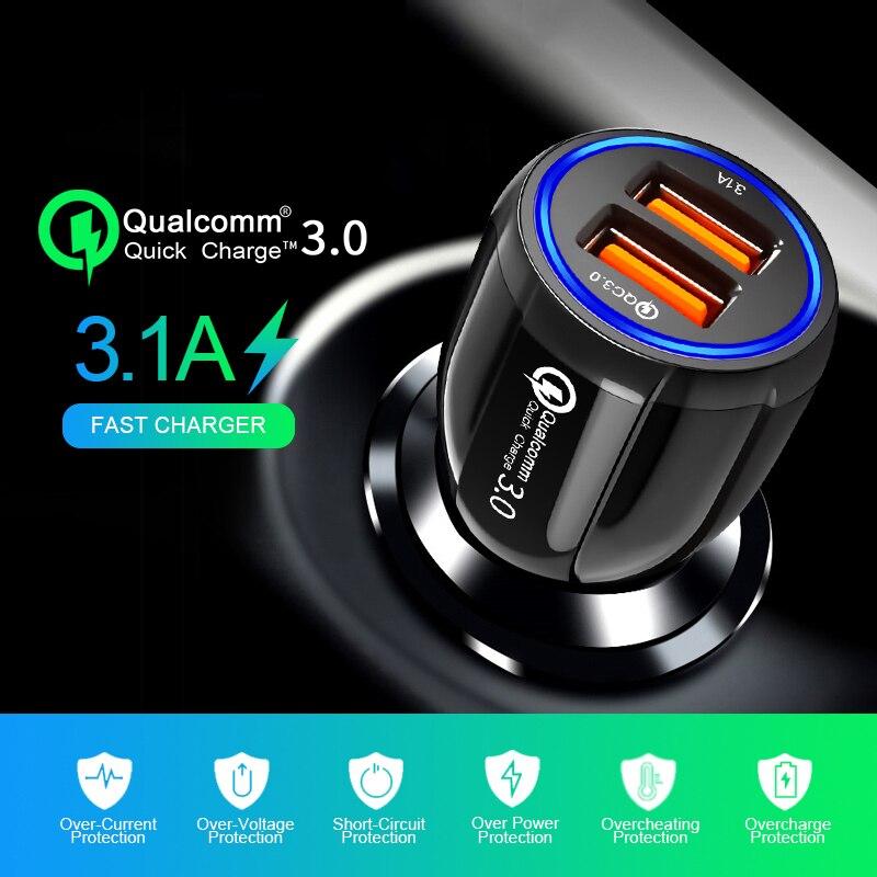 3.1A двойное USB Автомобильное зарядное устройство 3,0 Быстрая зарядка для Volvo Ford focus VW Volkswagen JETTA MK6 GOLF 5 6 7 для Skoda Fabia