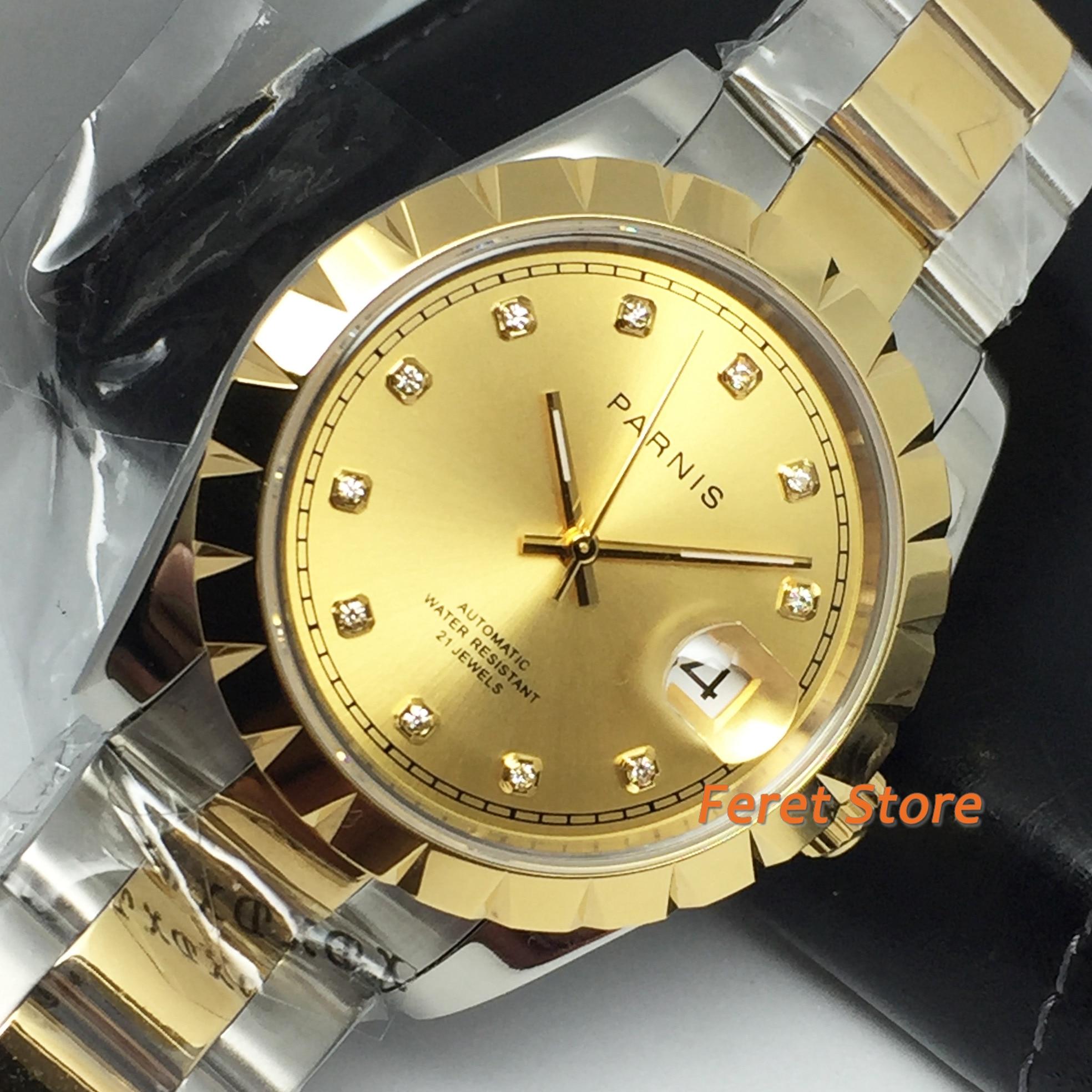 Parnis 39mm 2020 camiseta nueva carcasa dorada zafiro cristal esfera de oro abertura para fecha 21 joyería mecanismo Miyota reloj automático para hombre