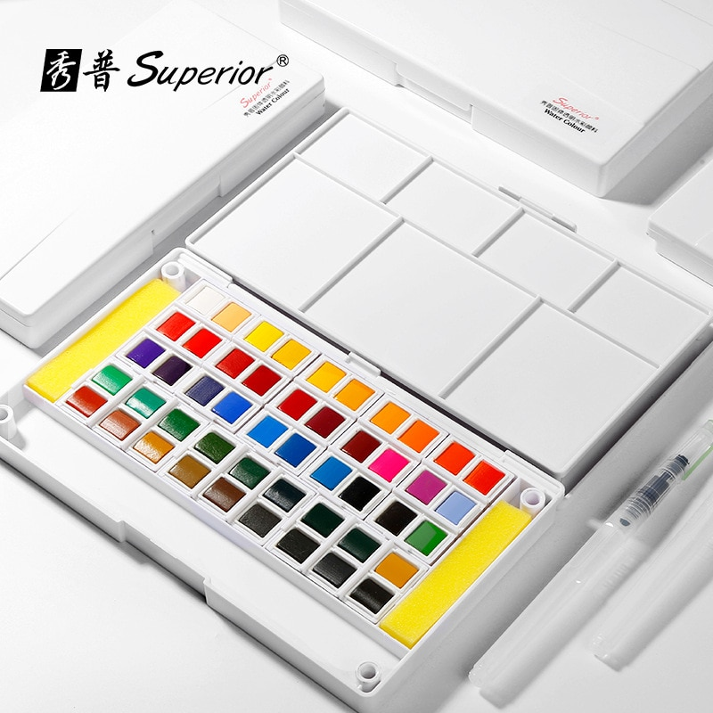paul rubens 12 24 48 watercolor paint set with metal case solid artist water color painting pigment for drawing art supplies Superior 24/30/48 Colors Solid Watercolor Paint Set with Water Brush for Artist Drawing Painting Water color Pigment Art Supplie