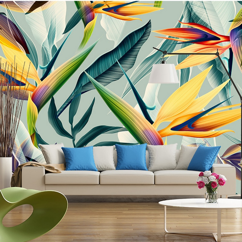 Self-Adhesive Wallpaper Modern 3D Tropical Leaves Murals Living Room Restaurant Wall Sticker Waterproof Removable Wallpapers