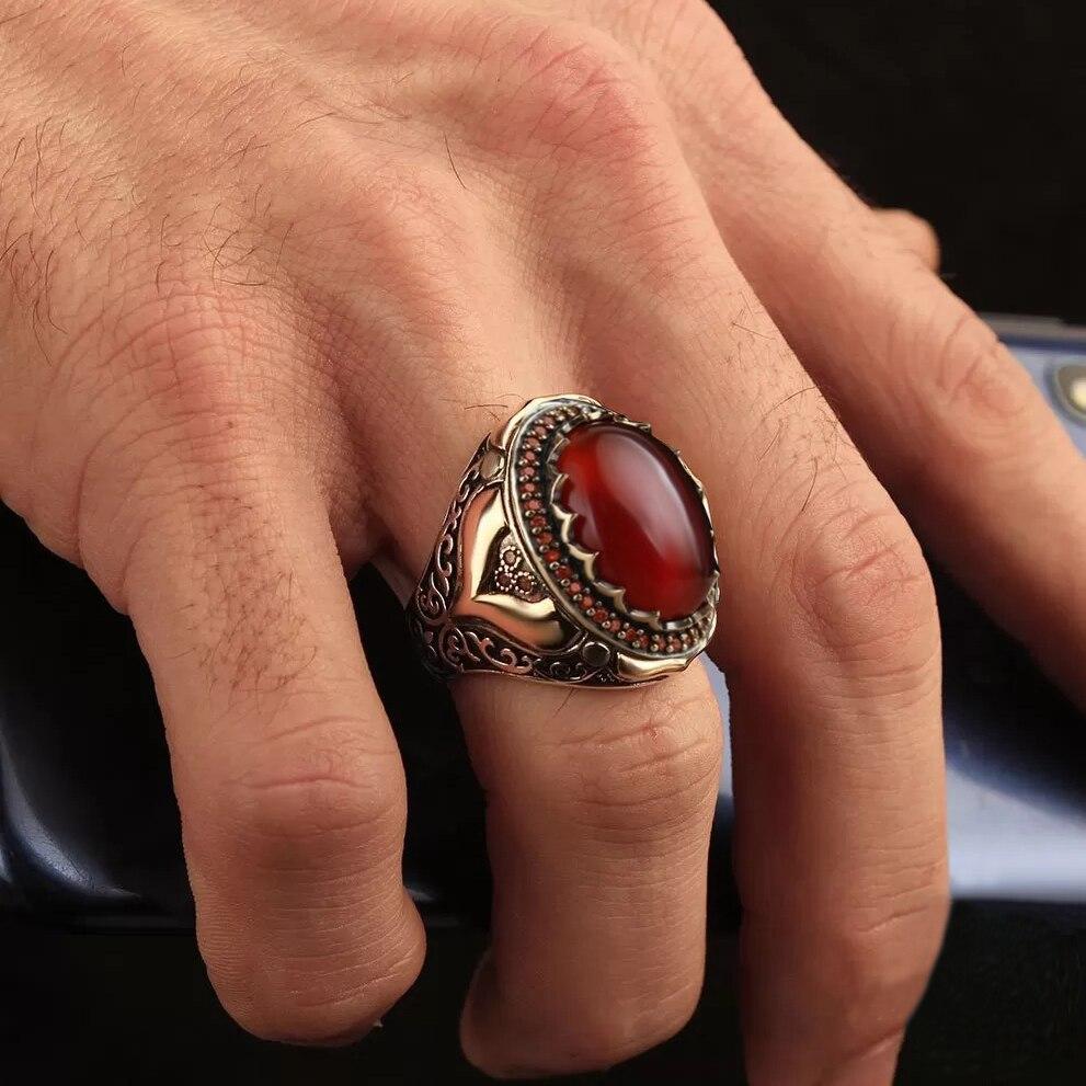 2021 модный винтажный Ретро Ближний Восток Арабский стиль древний стальной красный гранат драгоценный камень для мужчин подарки Вечерние
