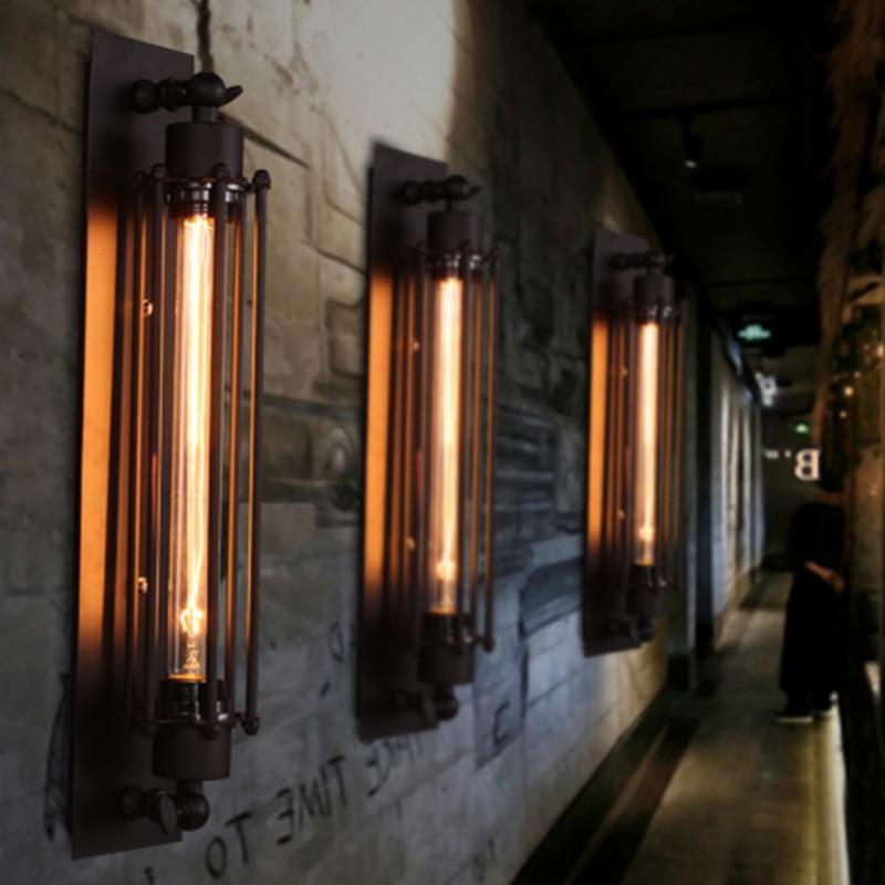 E27 الرجعية الداخلية الصناعية Vintage الجدار مصباح الحديد Loft مصابيح غرفة نوم الممر مطعم حانة الرجعية الجدار مصباح الشمعدانات الإضاءة