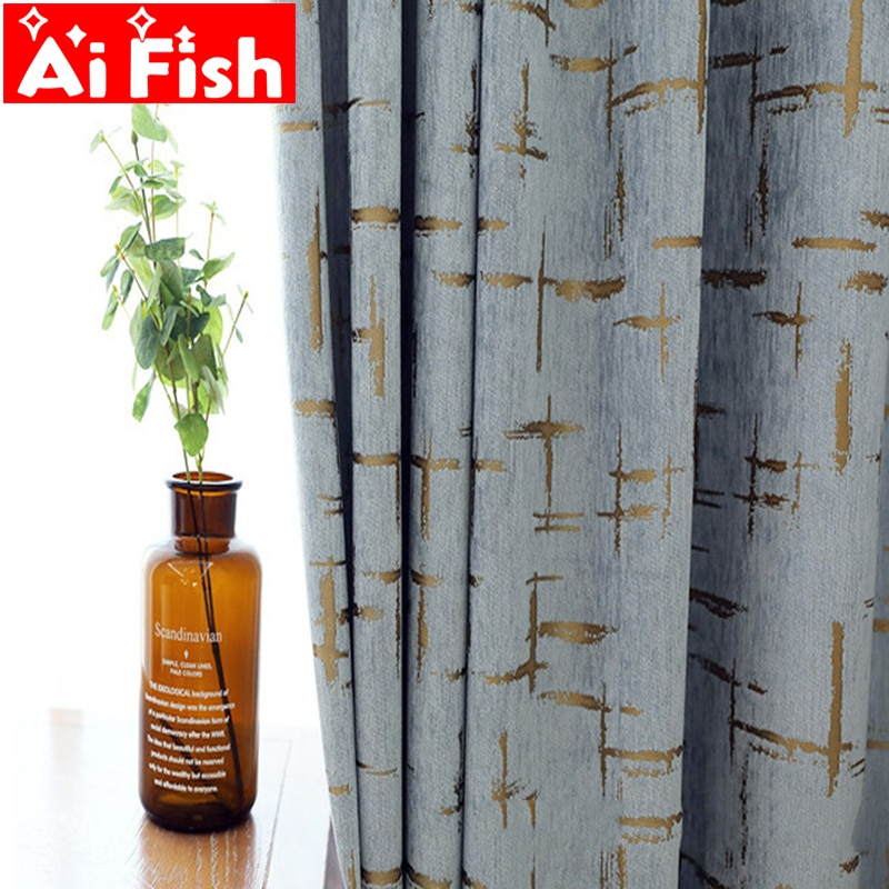 Cortinas opacas de chenilla modernas de Jacquard liso para sala de estar, cortinas para ventanas, telas con patrón de Cruz dorada MY322C