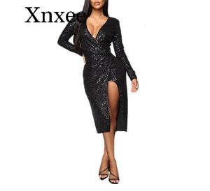 Women's Sparkling Sequins dress elegant spring fall Bodycon Pencil Dress V-Neck Hips-wrapped knee sexy party dresses