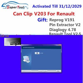 Can Clip V203 Scanner de Diagnostic pour Renault, activation à 2029, câble OBD2, lien logiciel + 3 Reprog V191 + extracteur de broches + dialogue