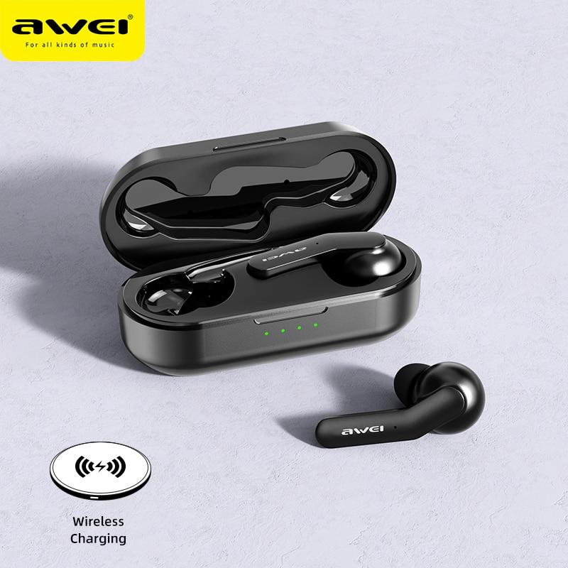 AWEI TWS بلوتوث متوافق سماعة صحيح اللاسلكية شحن إلغاء الضوضاء HiFi 6D باس مع هيئة التصنيع العسكري التحكم باللمس سماعة الألعاب