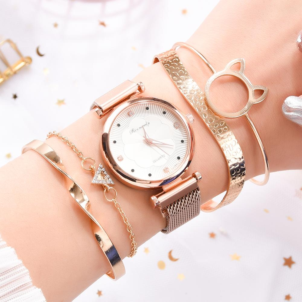Fashion 5pcs Set Women Watches Luxury Magnet Buckle Flower Rhinestone Watch Ladies Quartz Wrist Watch Bracelet Set Reloj Mujer enlarge