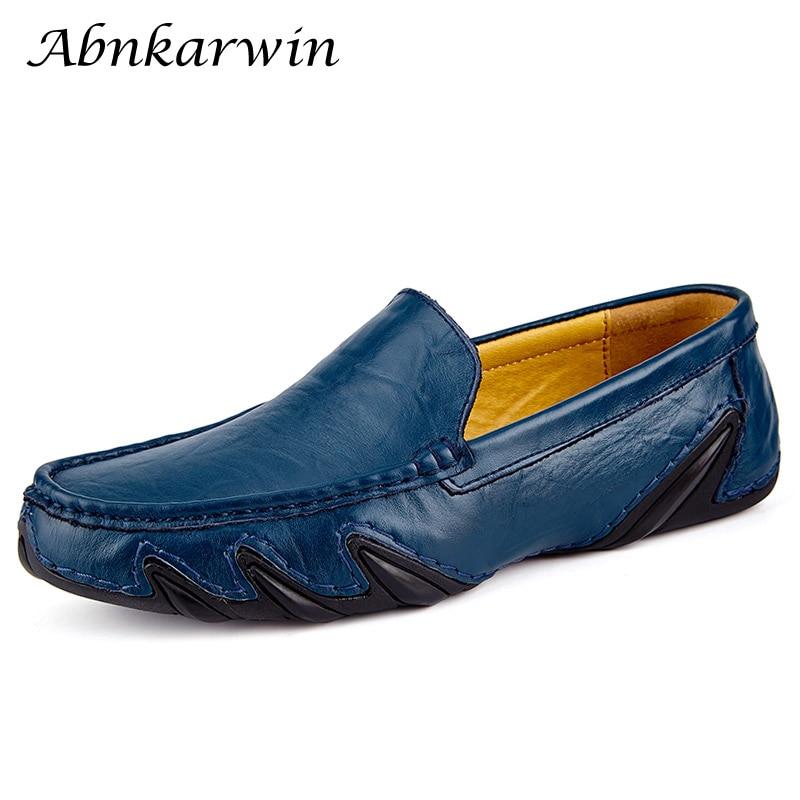 Slip On Autumn Casual Men Leather Shoes Mocassin Homme Loafers Men's Slip-ons Driving Designer Moccasins 2020 New Hot Sale