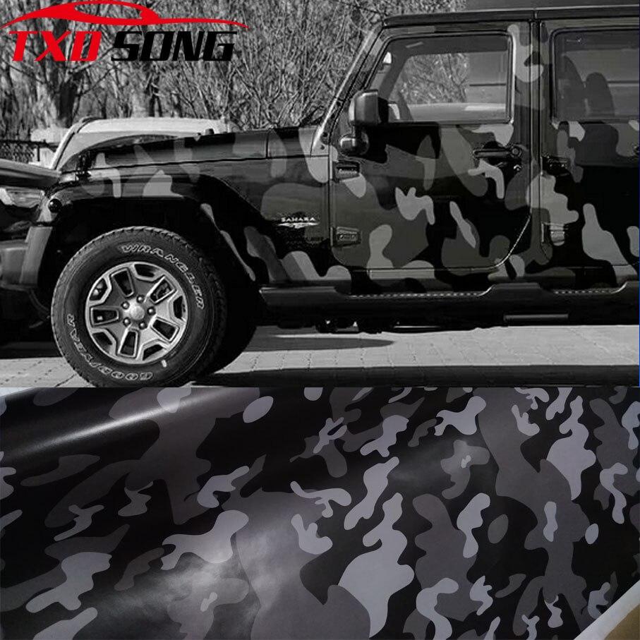 Nueva película negra de vinilo Camo de camuflaje película de envoltura de coche para coche estilo bicicleta ordenador portátil motocicleta