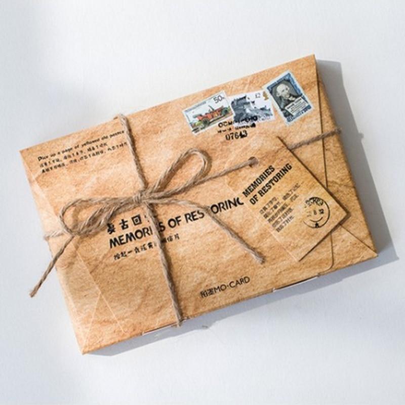 Paquete de 5 postales serie retro de colección, tarjetas de felicitación, tarjetas de regalo DIY de cumpleaños, tarjetas de mensaje, invitación de fiesta