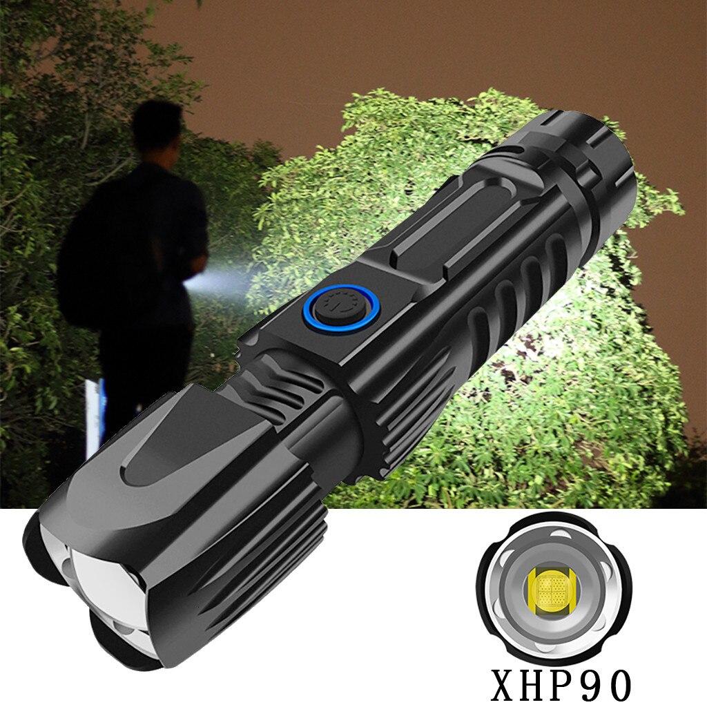 Linterna potente con zoom XHP90 linterna LED USB recargable 26650 linterna 5 modos linterna uso 26650 para caza