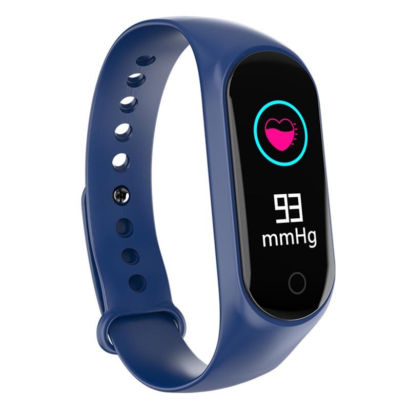 Monitor de presión arterial Bakeey M4S con frecuencia cardíaca O2, modos multideportivos de rechazo de llamadas, carga por USB, muñequeras buletooth