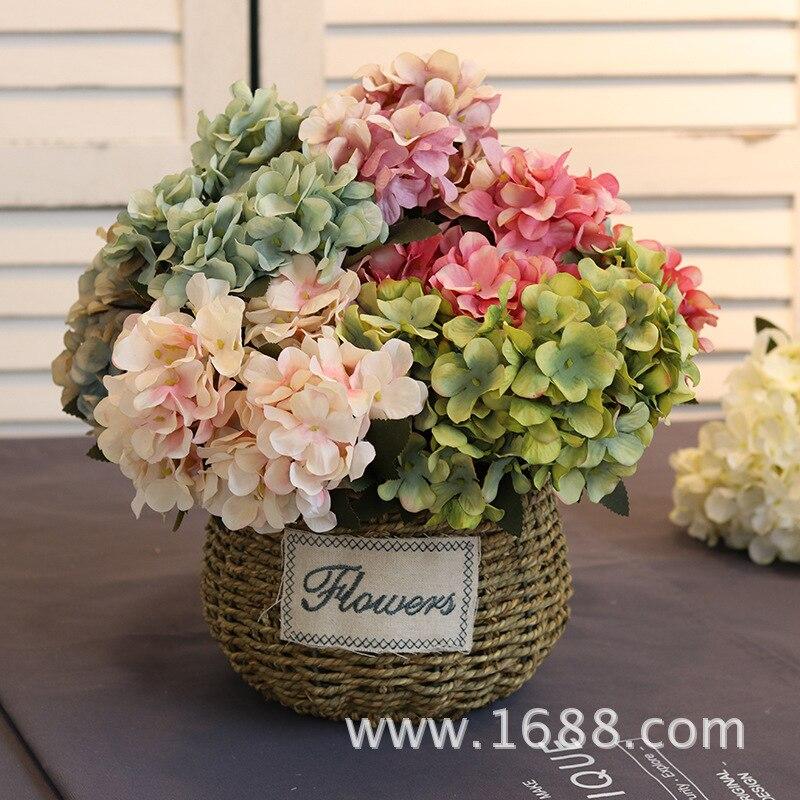 6/forquilhas hortênsias de seda flores artificiais flores de casamento para a noiva mão florescência de seda peônia falso flores branco decoração de casa