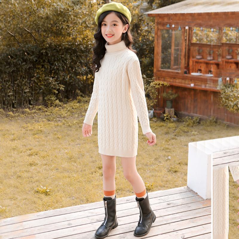 2020 Autumn Winter Children's Warm Thicken Velvet Long Sleeve Solid Girls Sweater Dress Kids Turtleneck Knit Pullover Dress K196 enlarge