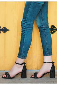 Black First Class Artificial Leather Heels Women Sandals Shoes COM-KDN-KTP-225618