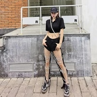 hollow out sexy slacks pearl chain jeans girl group stage bomb street streetwear women jeans hip hop punk pants