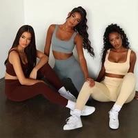 yoga sets women seamless fitness workout sport suits high wiast leggings stretch sports bra sexy gym clothing yoga sportswear