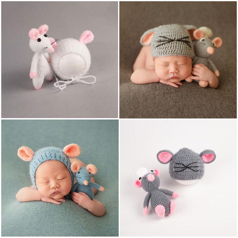 Cute Newborn Baby Girls Boys Knit Crochet Hat Cap Costume Photography Props Mouse Toys+Hats Infant Fotografia