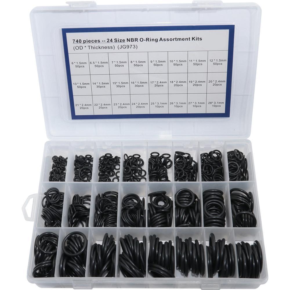 Купить с кэшбэком 1200pcs 740pcs NBR O ring 24 Size Sealing O-Ring Nitrile Rubber Gasket Ring Assortment Ring Seal Washer Set