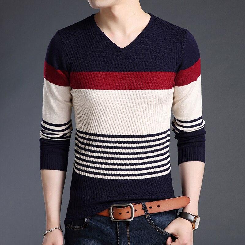 Новинка 2020, модные брендовые свитера, мужские пуловеры, полосатые облегающие вязаные Джемперы, теплая Осенняя повседневная мужская одежда ...