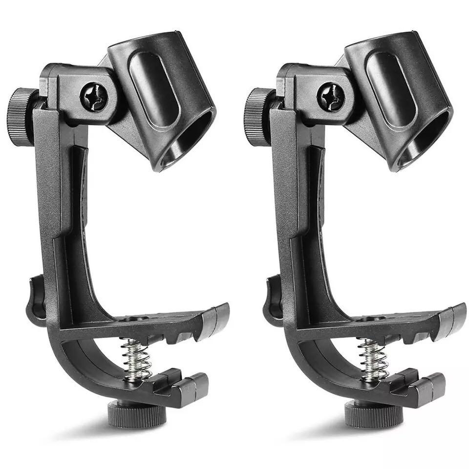 acekool 2 Pcs Adjustable Clip On Drum Rim Shock Mount Microphone Mic Clamp Holder r20