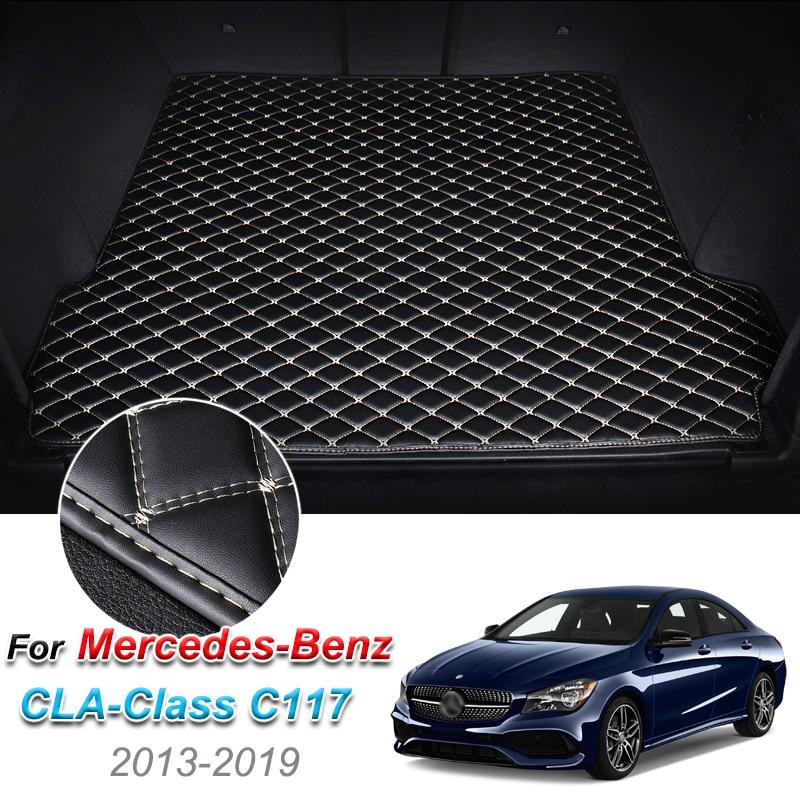 Custom Leather Car Trunk Mats For Mercedes-Benz CLA Class C117 2013-2019 Rear Floor Mat Tray Carpet Cargo Liner Accessorie