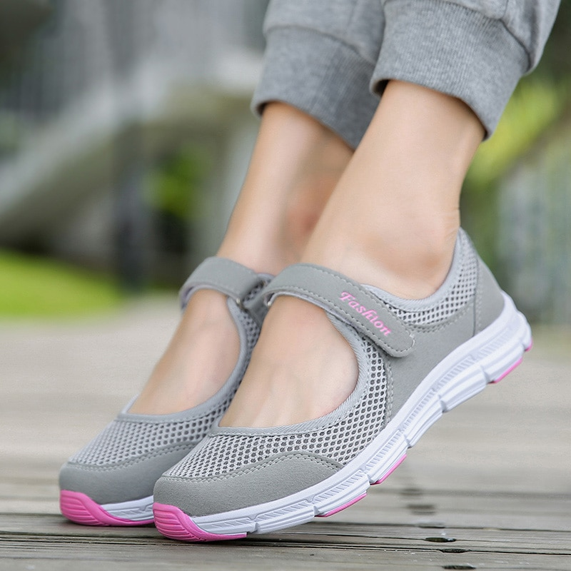 Plus Size Vrouwen Schoenen Mesh Flats Vrouwen Sneakers Ademende Zomer Casual Schoenen Vrouwen Flats Schoenen Platform Dames Schoenen 41 42