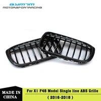 abs single line bright matte black colour carbon fiber car grille for bmw x1 f48 2016 2018