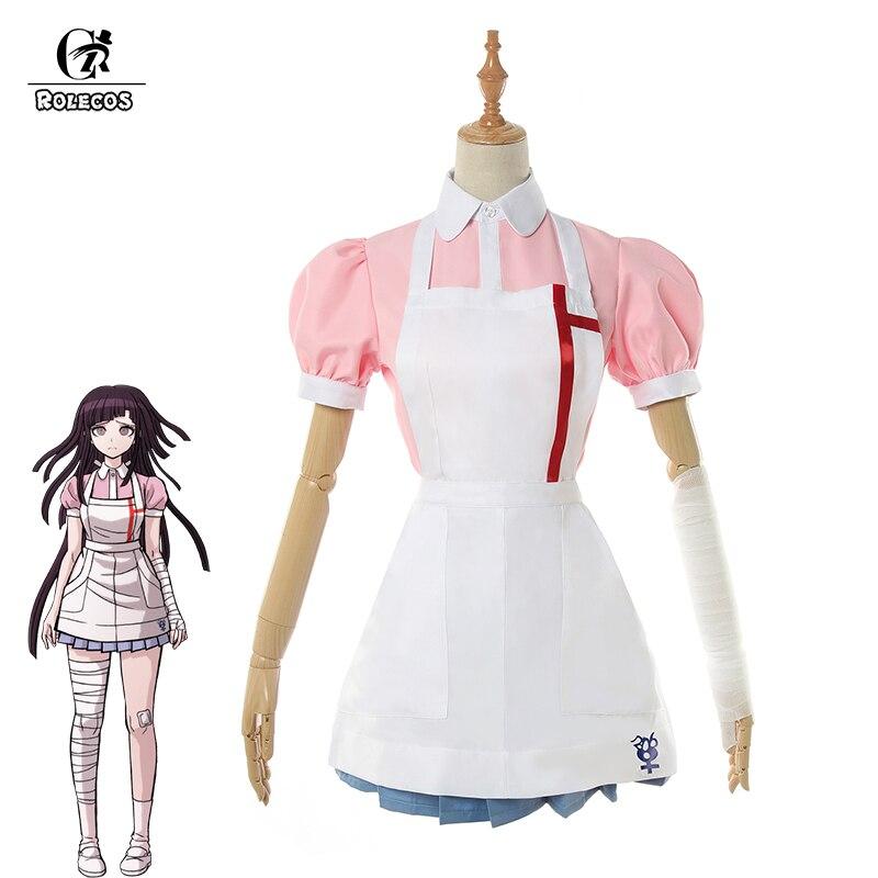 Disfraz de Anime Dangan Ronpa 2 DE ROLECOS, disfraz de Mikan Tsumiki, disfraz de Cosplay para mujer, vestido Danganronpa, camisa, falda, delantal, vendaje
