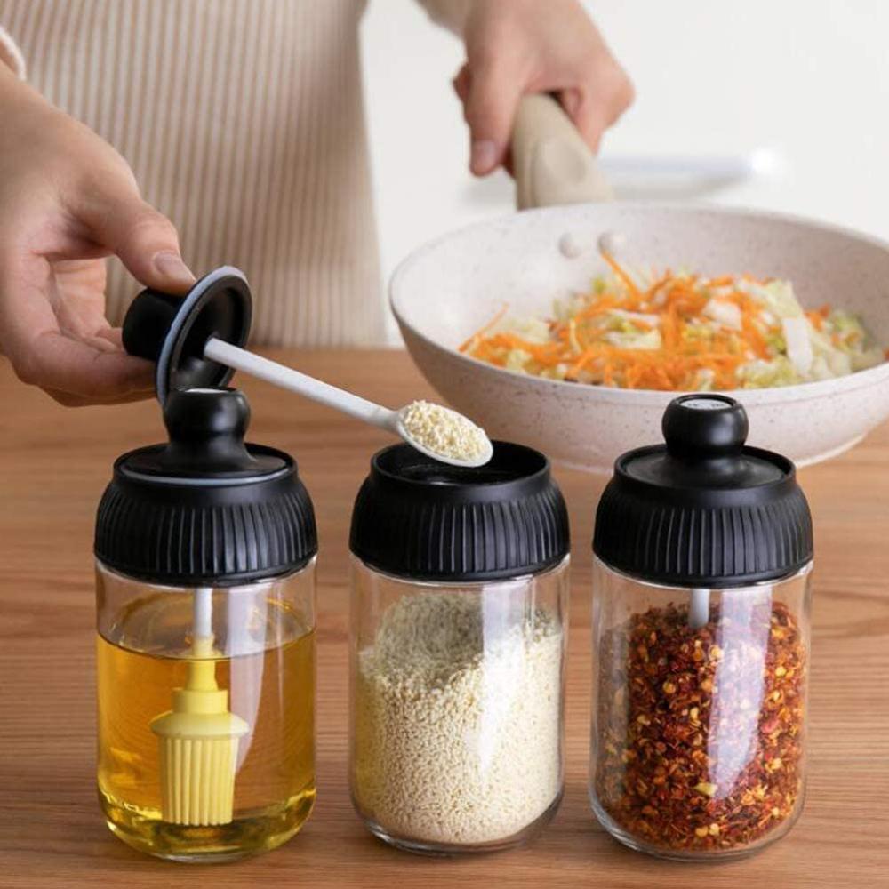 Botella de condimento, 250ml, recipiente de almacenamiento de condimentos de vidrio, tarro de condimento de cuchara de miel, frasco, botella con brocha aplicadora de aceite