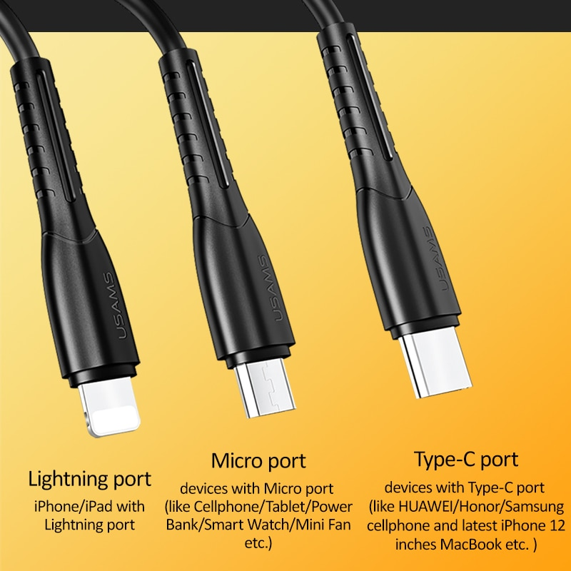 Купить с кэшбэком USAMS 3 in 1 USB cable For iPhone 12 11 8 7 6s Plus 5 5s SE 5c cable Micro USB Charging Cable  Type C Cable For Samsung s9 plus