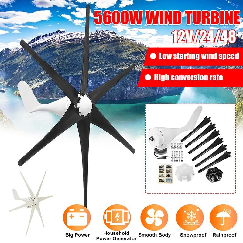 5600 Вт 12В/24В/48В 6 Нейлоновых ветряных турбин с лезвием, генератор горизонтальной мощности, ветряная мельница, энергетические турбины, зарядка...