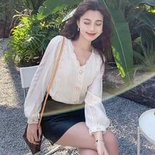 Good Quality Women's Clothing in Stock 2021 New Autumn Fashionable Chiffon Shirt Long-Sleeved Top La