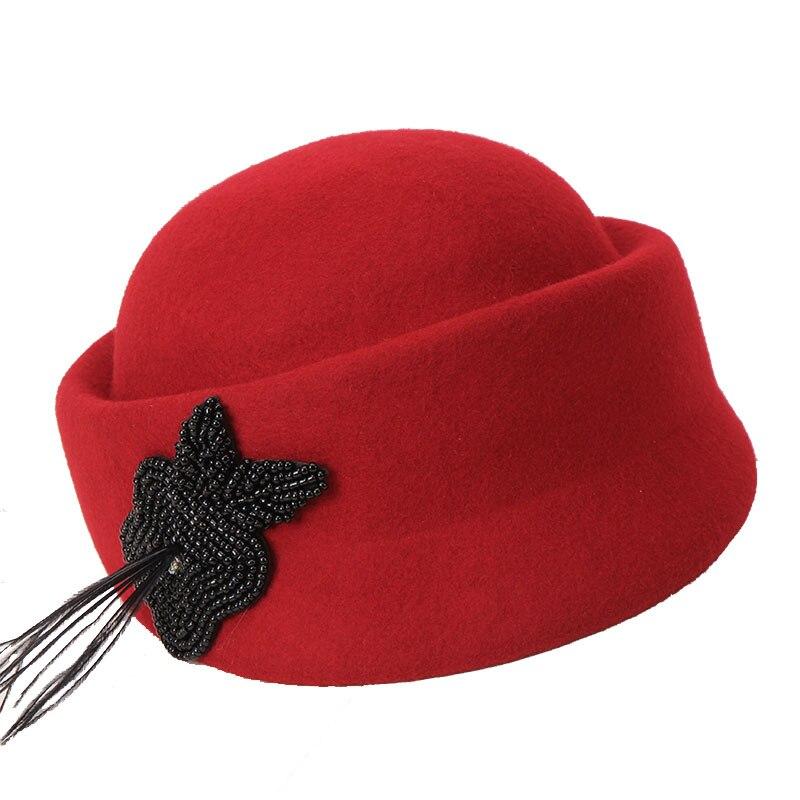 H734 Fedoras Hat Women Autumn Winter British Fashion Retro Wool Feather Cap Lady Temperament Elegant Church Banquet Warm Hats