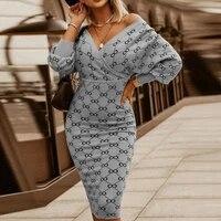 sexy v neck women bodycon package party dress spring autumn stripe plaid print dress 2021 elegant lantern sleeve dress women