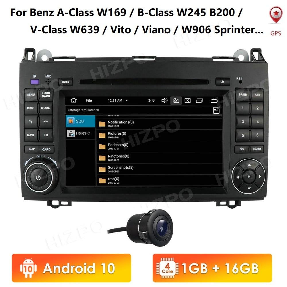 Автомобильный мультимедийный плеер Android10, GPS Авторадио для Mercedes Benz A-Class W169/ B-Class W245 V-Class W639 W906 Sprinter 7 дюймов 2din
