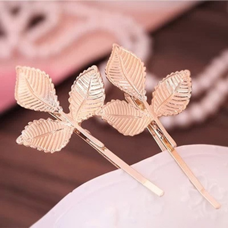 Fashionable Women Clip Hairpins Wedding Tiara Gold Leaf Hair Clip Styling Tools  - buy with discount